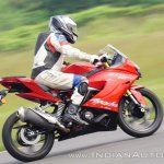TVS Apache RR 310 first ride review action right side