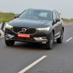 Volvo XC60 test drive review front angle front action shot