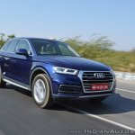 2018 Audi Q5 test drive review front three quarters motion