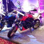 2018 Bajaj Dominar 400 unveiled red front left quarter