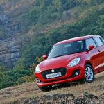 2018 Maruti Swift test drive review front three quarters tilt