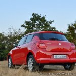 2018 Maruti Swift test drive review rear three quarters