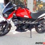 Mahindra Mojo low cost variant at dealership left side