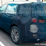 Next-gen 2018 Hyundai Santa Fe rear three quarters spy shot