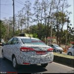 Toyota Yaris Ativ (Toyota Vios) rear three quarters spy shot India