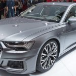 2018 Audi A6 front three quarters left side elevated view at 2018 Geneva Motor Show