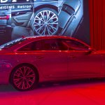 2018 Audi A6 rear three quarters right side at 2018 Geneva Motor Show