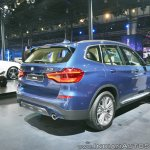 2018 BMW X3 rear three quarters at Auto Expo 2018