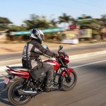 2018 Bajaj Discover 110 rear right quarter action first ride review
