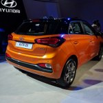 2018 Hyundai i20 (facelift) Passion Orange with Black rear three quarters at Auto Expo 2018