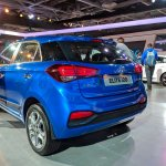 2018 Hyundai i20 (facelift) rear three quarters at Auto Expo 2018