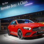 2018 Mercedes A-Class (W177) red front three quarters world premiere