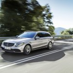 2018 Mercedes C-Class Estate (facelift) front three quarters left side dynamic