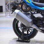 2018 Suzuki GSX-R1000R Blue exhaust at 2018 Auto Expo