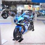 2018 Suzuki GSX-R1000R Blue front left quarter at 2018 Auto Expo