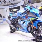 2018 Suzuki GSX-R1000R Blue front right quarter at 2018 Auto Expo