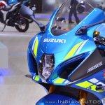2018 Suzuki GSX-R1000R Blue headlight at 2018 Auto Expo