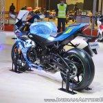 2018 Suzuki GSX-R1000R Blue rear left quarter at 2018 Auto Expo