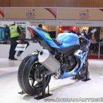 2018 Suzuki GSX-R1000R Blue rear right quarter at 2018 Auto Expo
