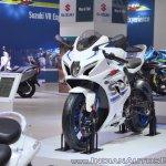 2018 Suzuki GSX-R1000R White front left quarter at 2018 Auto Expo