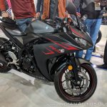 2018 Yamaha YZF-R3 Black front right quarter at 2018 Auto Expo