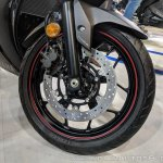 2018 Yamaha YZF-R3 Black front wheel at 2018 Auto Expo