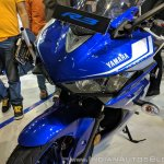 2018 Yamaha YZF-R3 Blue headlamps at 2018 Auto Expo