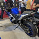 2018 Yamaha YZF-R3 Blue rear left quarter at 2018 Auto Expo