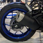 2018 Yamaha YZF-R3 Blue rear wheel at 2018 Auto Expo