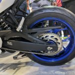 2018 Yamaha YZF-R3 Blue swingarm at 2018 Auto Expo