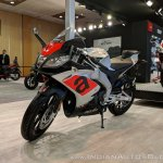 Aprilia RS 150 front left quarter at 2018 Auto Expo