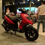 Aprilia Storm Red front right quarter at 2018 Auto Expo