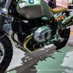 BMW R nineT Scrambler engine left side at 2018 Auto Expo