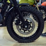 Cleveland Ace Scrambler front wheel at 2018 Auto Expo