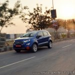 Ford EcoSport Petrol AT review front three quarters motion shot