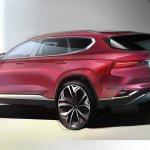 New generation Hyundai Santa Fe sketch rear three quarters
