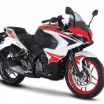 Pulsar RS200 - Racing Red press front right quarter