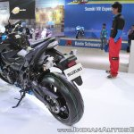 Suzuki GSX-S750 rear left quarter at 2018 Auto Expo