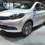 Tata Tigor EV front three quarters at Auto Expo 2018