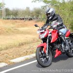 2018 TVS Apache RTR 160 4V First ride review front left quarter action