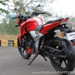 2018 TVS Apache RTR 160 4V First ride review rear left quarter