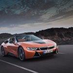 BMW i8 Roadster front three quarters dynamic