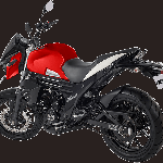 Mahindra Mojo UT300 Red press rear left quarter