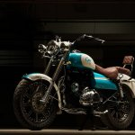 Royal Enfield Bullet 350 Cerulean by Eimor Customs front left quarter