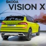 Skoda Vision X concept rear three quarters at 2018 Geneva Motor Show