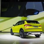 Skoda Vision X concept rear three quarters left side at 2018 Geneva Motor Show