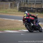 Yamaha YZF-R15 v3.0 track ride review rear cornering action