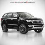 2018 Ford Endeavour : 2018 Ford Everest black front three quarter angle rendering