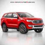 2018 Ford Endeavour : 2018 Ford Everest red front three quarter angle rendering
