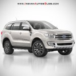 2018 Ford Endeavour : 2018 Ford Everest white front three quarter angle rendering